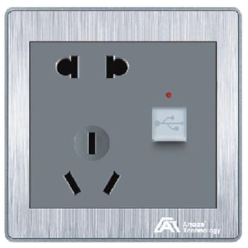 欧曼尔银尊二三极插座+usb接口