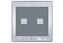 欧曼尔银尊双联八芯电脑插座